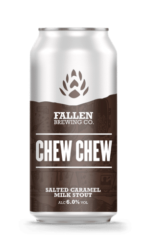 A can of Chew Chew, Salted Caramel Milk Stout from Fallen Brewing