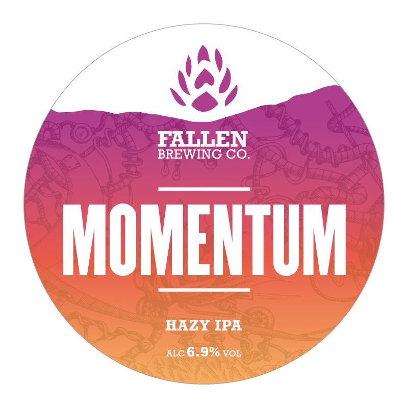Keg Badge for Momentum, a hazy IPA from Fallen Brewing