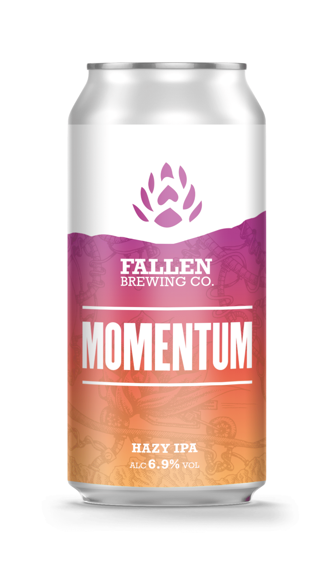A Can of Momentum Hazy IPA from Fallen Brewing
